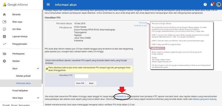 Verifikasi PIN Google Adsense Menggunakan KTP Panduan Tutorial Verifikasi PIN Google Adsense Menggunakan KTP