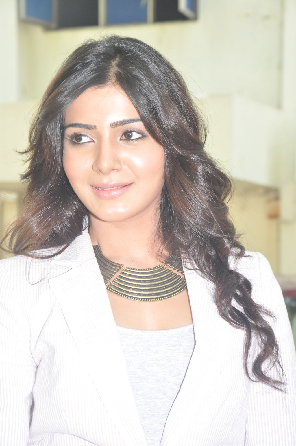 Kollywood Hot Actress Samantha Long Black Hair Stills In White Coat