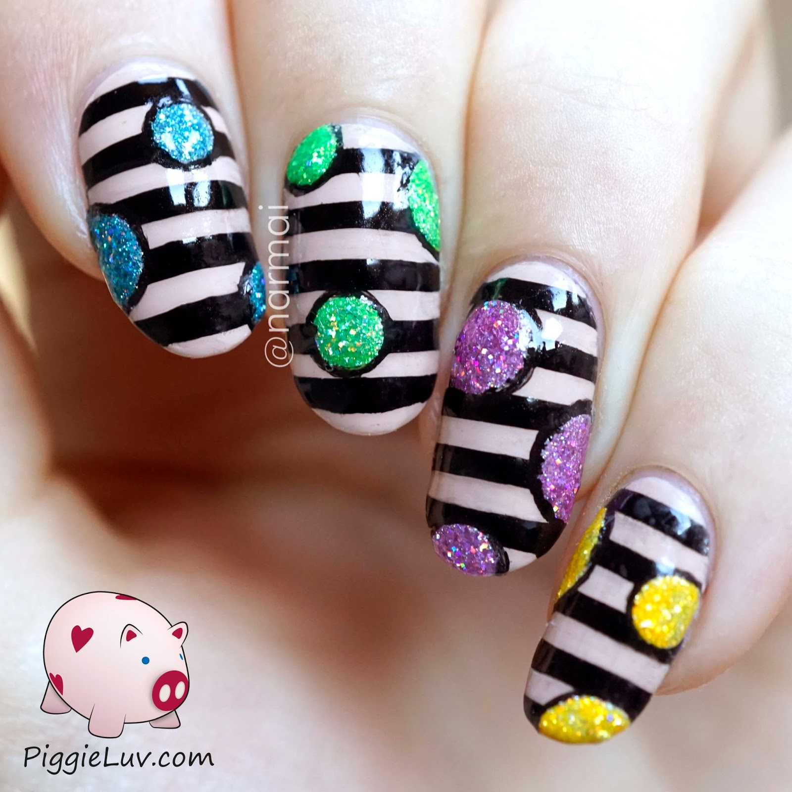 Piggieluv Rainbow Bubbles Nail Art: PiggieLuv: Stripey Nail Art Design With Glitter Orbs