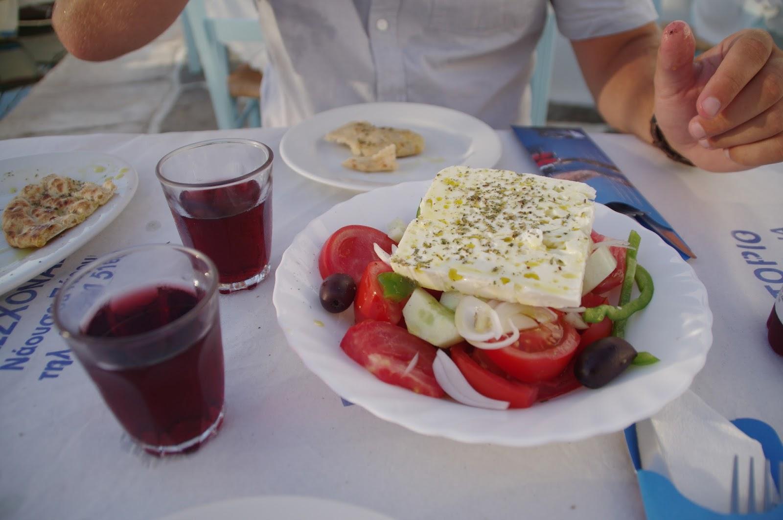 Greek salad and wine