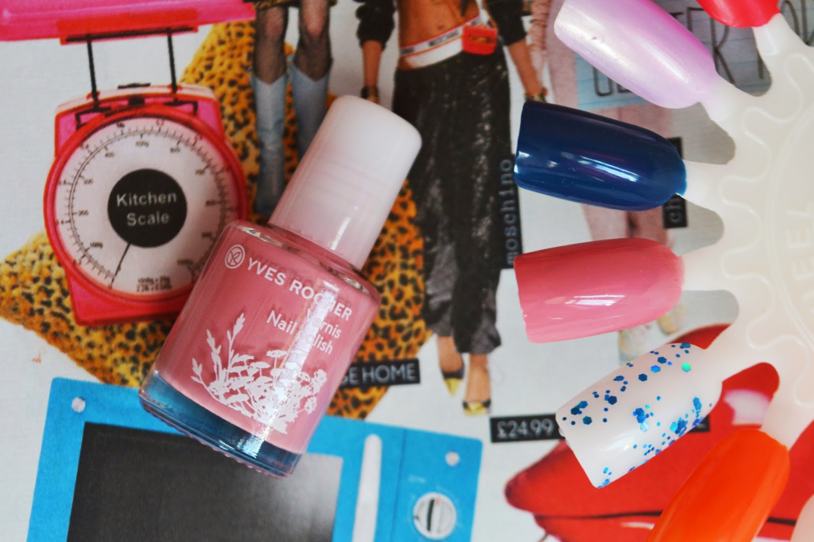 the bottle of pink nail varnish next to a nail wheel