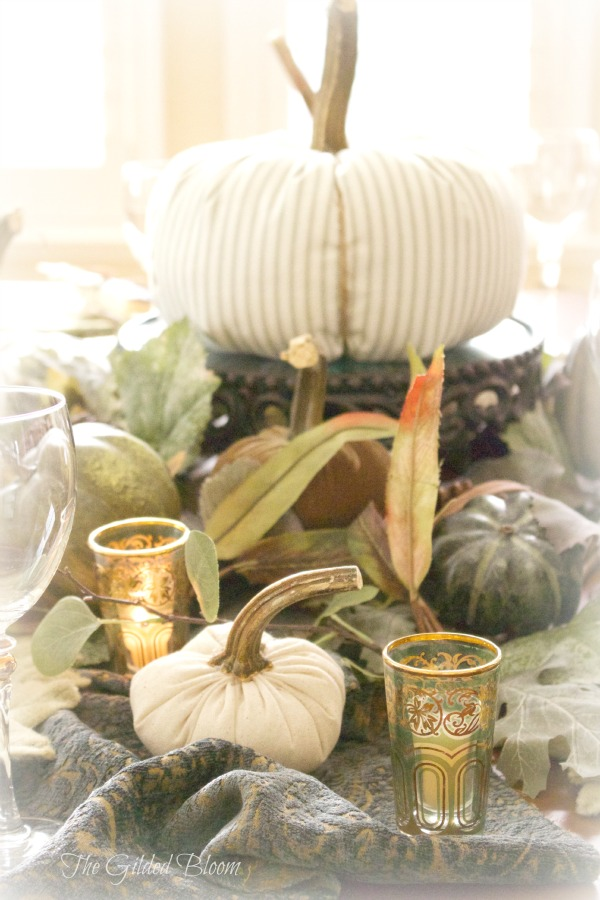 A Festive Fall Pumpkin Table-  Set an autumn table with pumpkins!  www.gildedbloom.com  #tablesetting