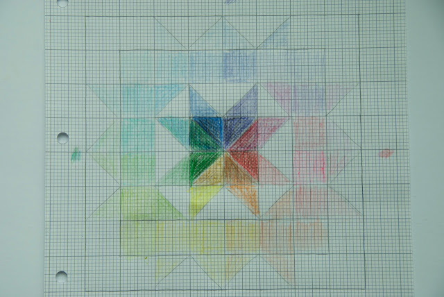 Rainbow rose block sketch