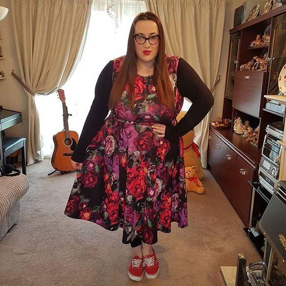 Lady V London roses plus size Hepburn dress