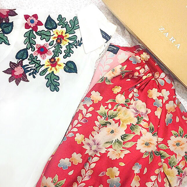 zara floral red embroidered blouse shirt