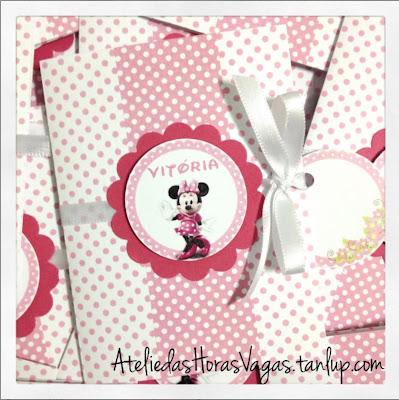 convite artesanal personalizado infantil aniversário 1 aninho minnie mouse pink poá menina