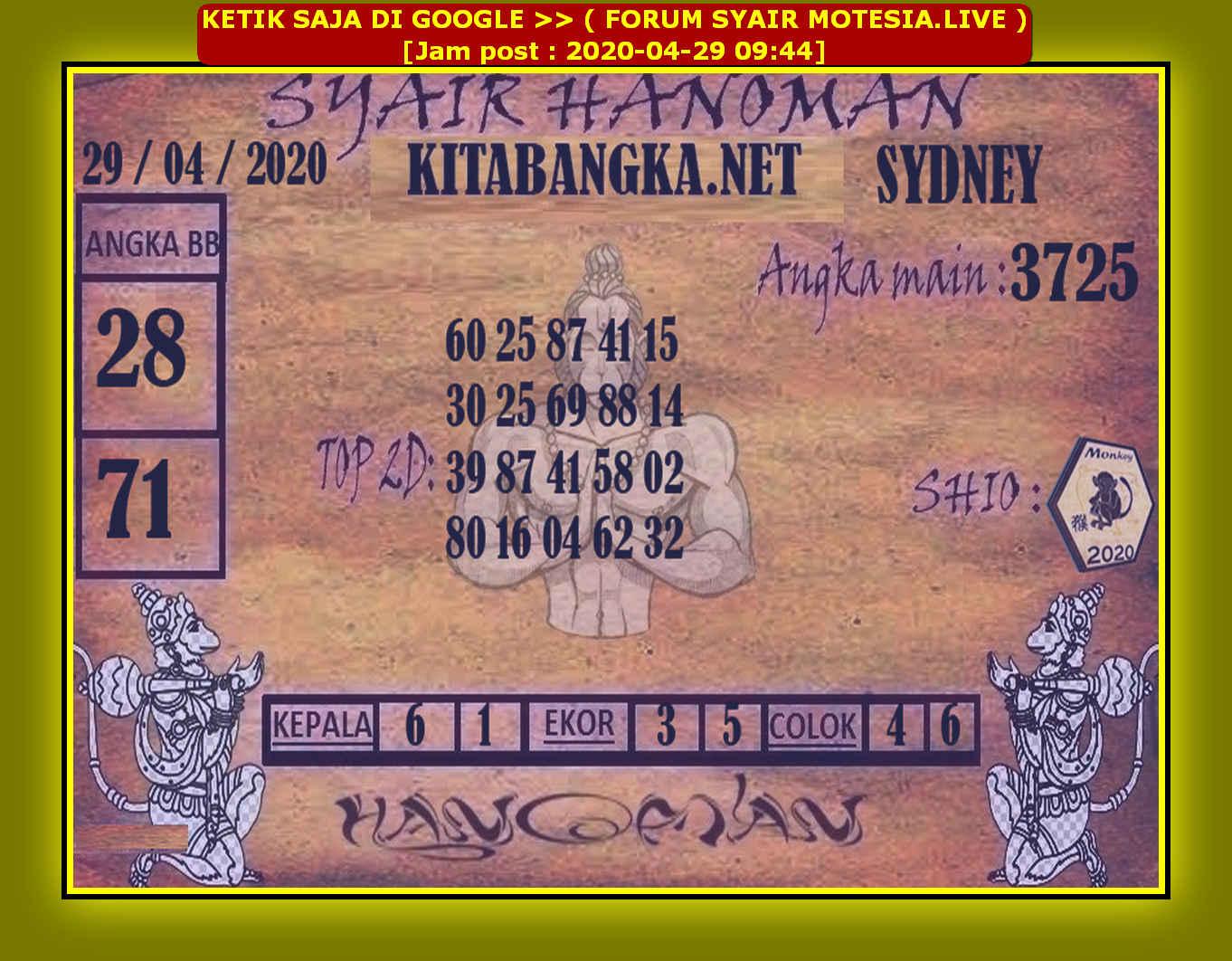 Kode syair Sydney Rabu 29 April 2020 53