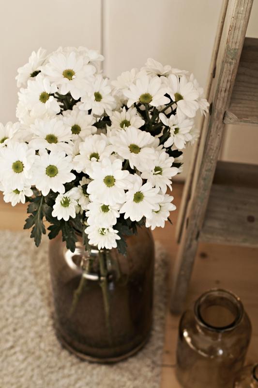 Blog + Fotografie by it's me! - weiße Chrysanthemen in brauner Glasvase auf weißem Teppich