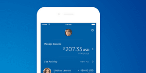PayPal app interface in a smartphone