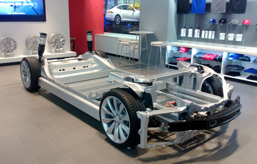 The Tesla Frame And Simple Surrounding Showroom