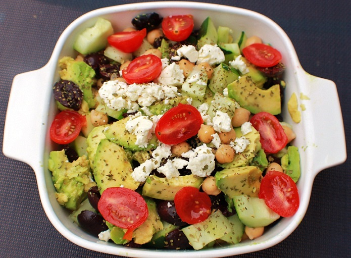 this is how to make avocado feta cheese tomato and chickpea salad