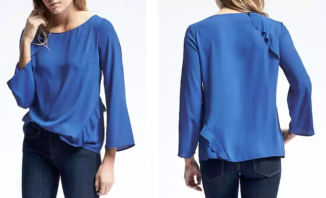 Banana Republic Asymmetrical Ruffle Blouse $22 (reg $88)