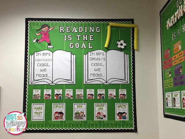 "For this sports theme classroom, the Not So Wimpy Teacher decorated a bulletin board with green paper (for turf), a girl kicking a soccer ball into a goal, and titled the board ""Reading is the Goal."""