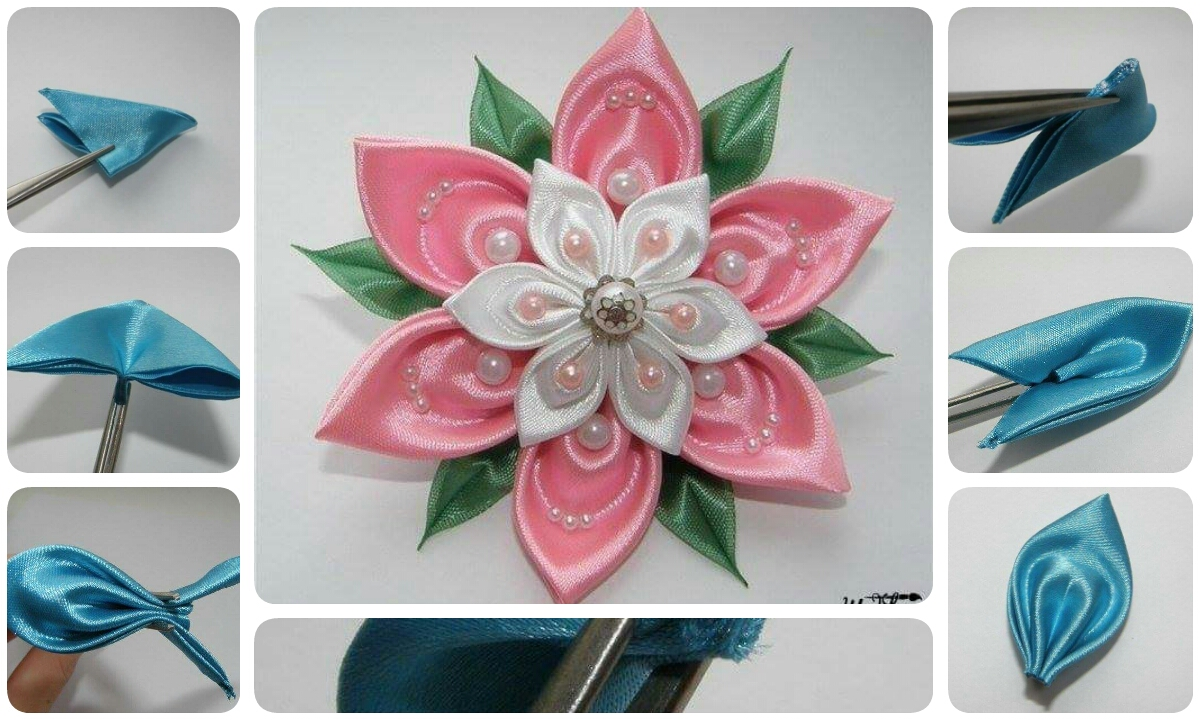 How to make beautiful ribbon flower crazzy craft for What make a beautiful