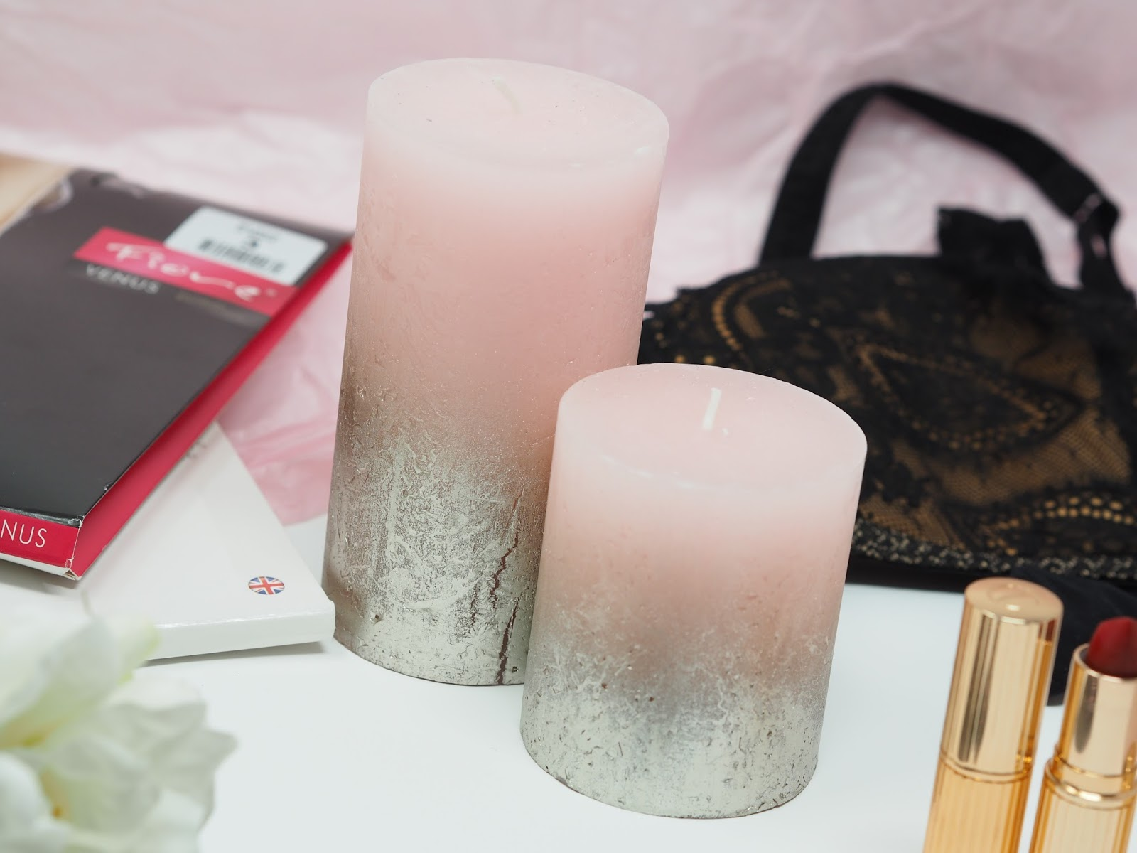 valentines gifts presents candles flatlay