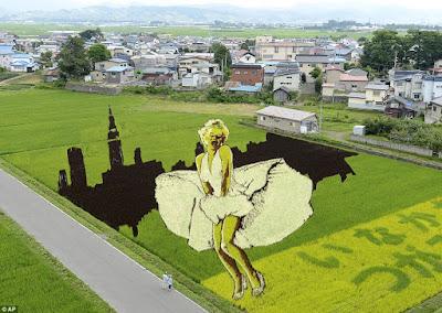 Escena vestido Marilyn hecha con arroz en Japón