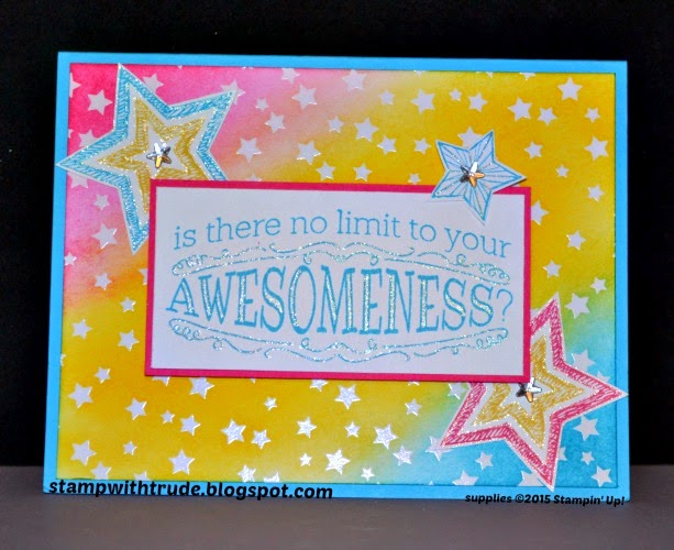 stampwithtrude.blogspot.com , Trude Thoman, Stampin' Up!, Big News stamp set, emboss resist technique, Irresistibly Yours Specialty Designer Series Paper, thank you card, Sale-A-Bration, free paper pack