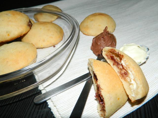 Masitas de patata rellenas de chocolate blanco y nutella
