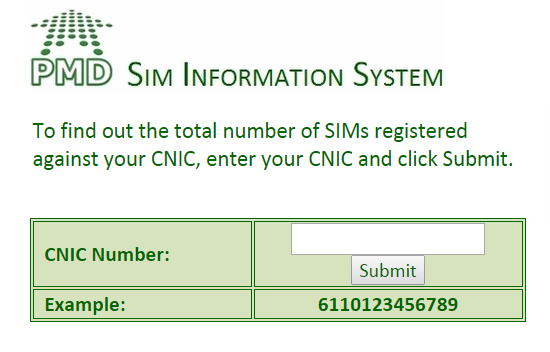 Sims Numbers Against My Cnic Number - 0425