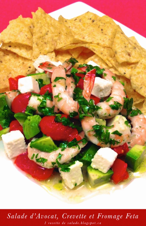 1 recette de salade salade d 39 avocat crevette et fromage feta. Black Bedroom Furniture Sets. Home Design Ideas