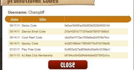 Promotional codes animal jam