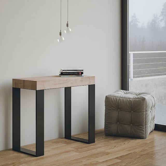 Table console extensible design moderne et pas cher chêne nature avec châssis Anthracite 14 places 3 mètres