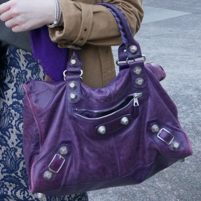 Balenciaga raisin purple 2009 giant silver G21 hardware work bag | away from the blue