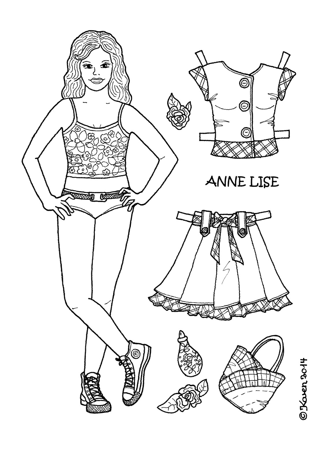 Anne Lise 1 Paper Doll to Print and Colour. Anne Lise 1