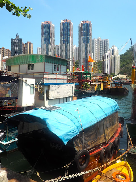 Boats moored by the promenade, Aberdeen, Hong Kong