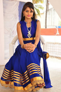 Actress Harisha Krishna Stills in Beautiful Blue Chudiddar  0044.jpg