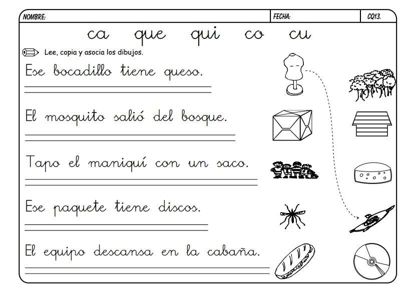 Maestra de Primaria: Fichas para trabajar CA, QUE, QUI, CO, CU.