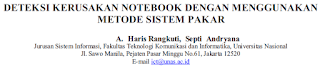 DETEKSI KERUSAKAN NOTEBOOK DENGAN MENGGUNAKAN METODE SISTEM PAKAR [PDF]