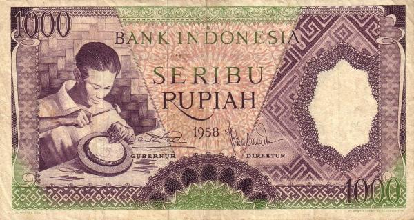 seribu rupiah 1959 depan