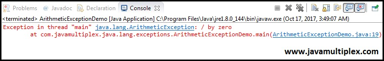 Output of ArithmeticException