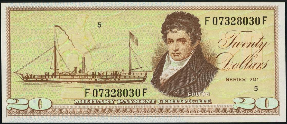 20 Dollars Military Payment Certificate, MPC Series 701 Steamboat Clermont, Robert Fulton