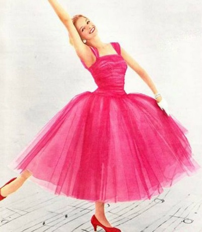 1955 Rappi Prom Dress in Raspberry Tulle