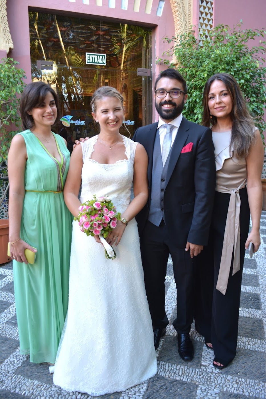 Bride and groom with two friends