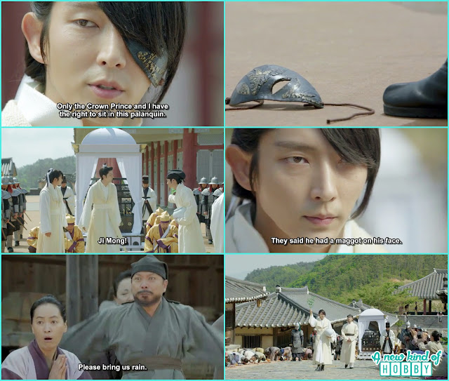 the people atthe town seeing 4th prince face mask disappear prayed for another miracle of rain  - Moon Lover Scarlet Heart Ryeo - Episode 8 - Review
