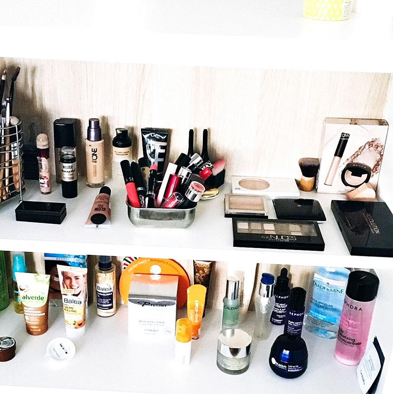 shelfie, makeup and skincare organization