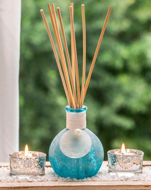 Blue Coastal Reed Diffuser Decorative Vase