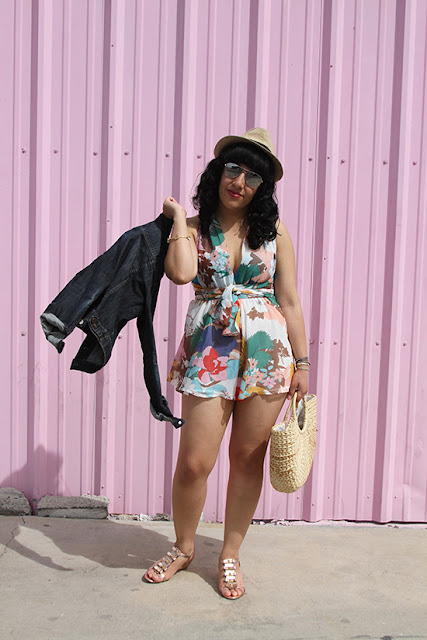 Jean Jacket and L'ATISTE Floral Romper Summer Travel Outfit | Will Bake for Shoes