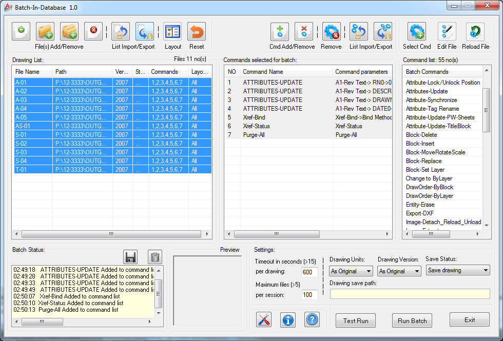AutoCAD Add-ons: BatchInDatabase – Batch Edit Drawings Without
