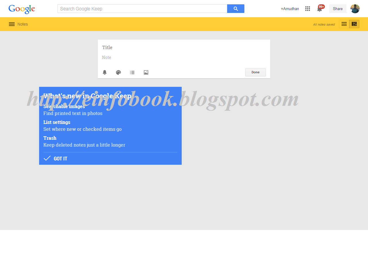 E info Book Google Keep