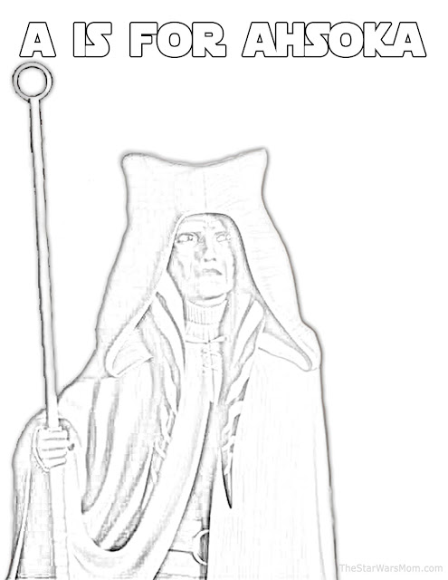 A is for Ahsoka Tano - Star Wars Rebels Alphabet Coloring Page
