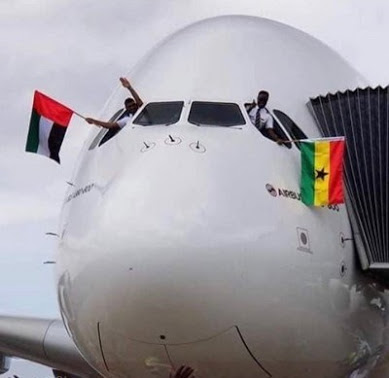 PHOTOS: World's Biggest Passenger Airliner Lands In Ghana... first of such in West Africa