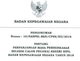 Download Pengumuman Nomor: 10/PANPEL.BKN/CPNS/XII/2018 Tentang Perpanjangan Masa Pemberkasan Seleksi CPNS/Calon Pegawai Negeri Sipil BKN Tahun 2018