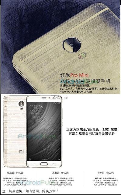 Xiaomi Redmi Pro Mini dikabarkan dengan layar OLED 5.2-inch, Snapdragon 652