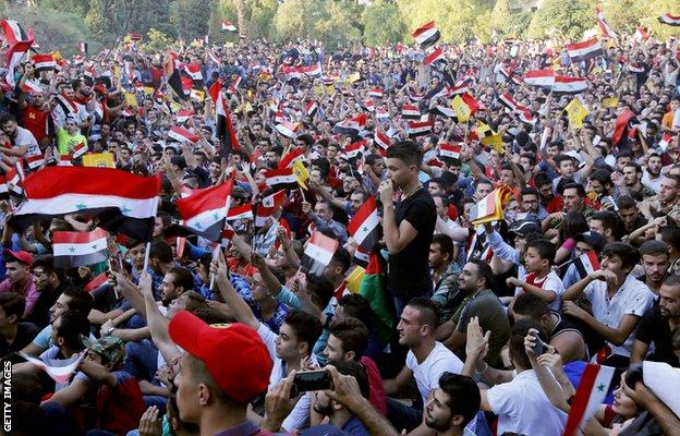 Thousands of Syria fans watched the match on a big screen at the Al-Jalaa stadium in Damascus