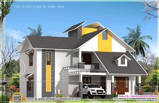 Modern sloping roof home