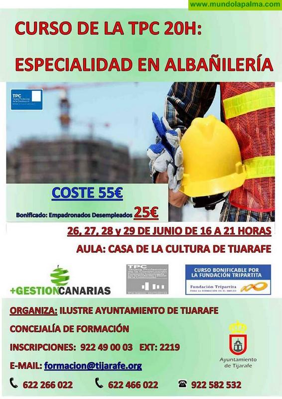 Curso TPC. Especialidad en Albañilería en Tijarafe